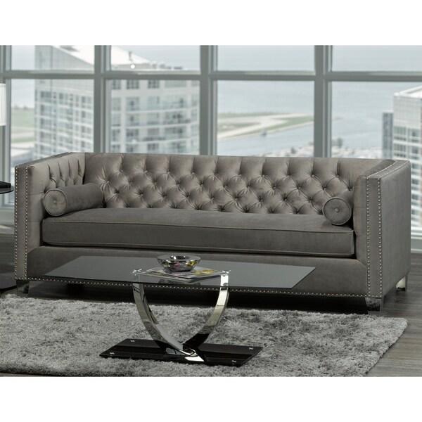 Modern Nailhead Sofa: Shop Hank Modern Grey Velvet Tufted Nailhead Sofa