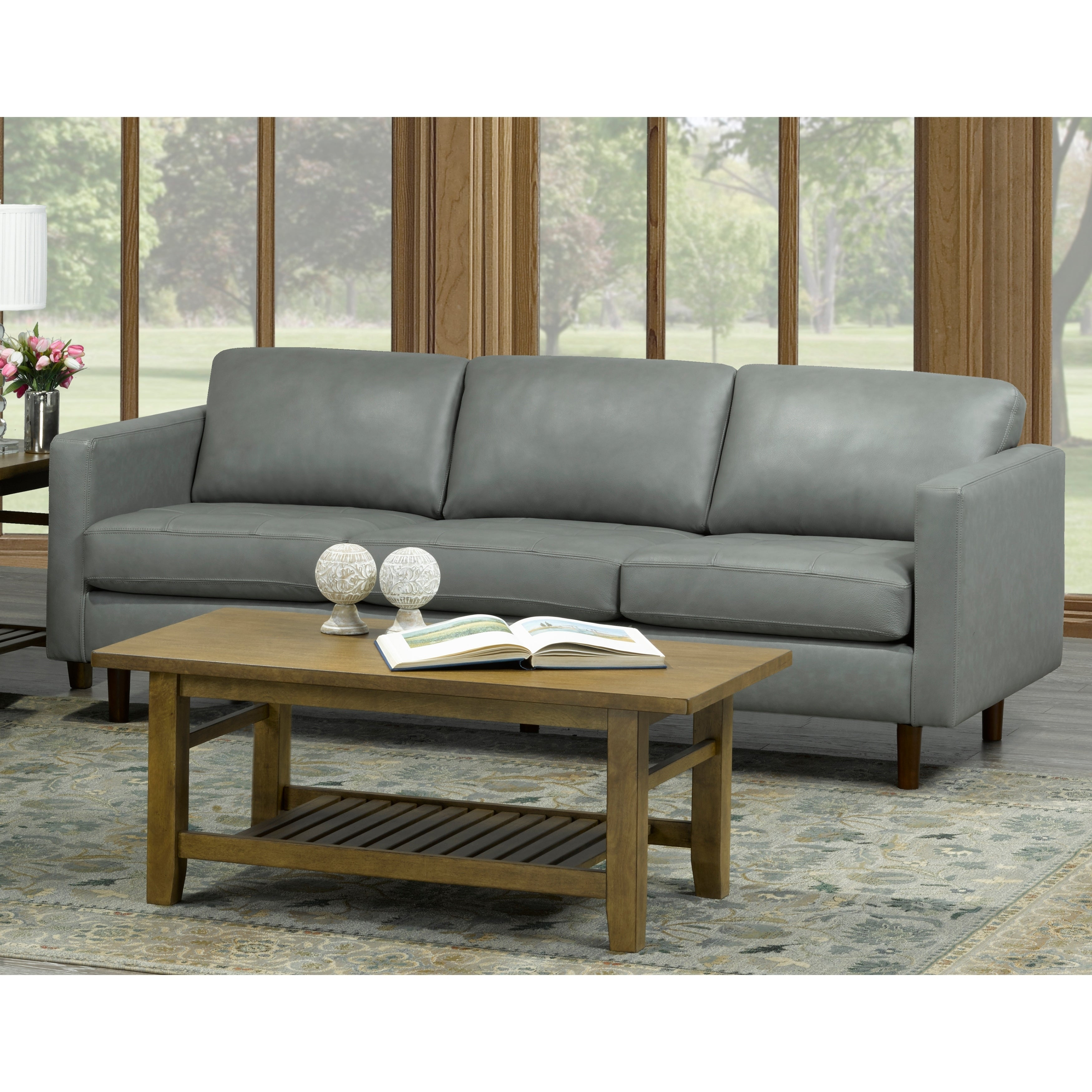 Booker Mid Century Modern Grey Top Grain Italian Leather Tufted Sofa