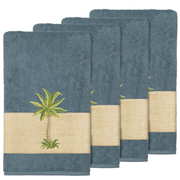 Authentic Hotel And Spa Turkish Cotton Palm Tree Embroidered Teal Bath Towels Set Of 4