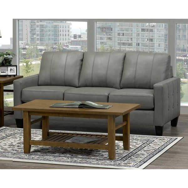 Roy Mid Century Modern Grey Top Grain Italian Leather Tufted Sofa On Free Shipping Today 20847589