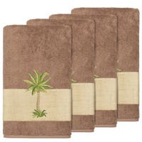 Authentic Hotel and Spa Turkish Cotton Palm Tree Embroidered Latte Brown Bath Towels (Set of 4)