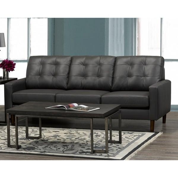 Gunner Mid Century Modern Dark Grey Top Grain Italian Leather Tufted Sofa