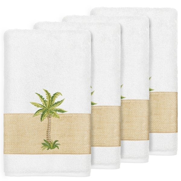 Authentic Hotel And Spa Turkish Cotton Palm Tree Embroidered White Bath Towels Set Of 4
