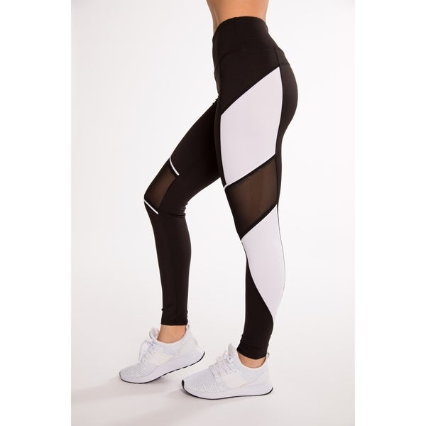 eae41a90f9699 Black & White Fitness Active Legging With Diagonal Mesh & Contrast  Side Panel By
