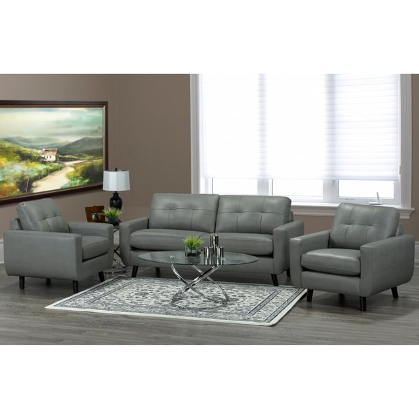 Shop Bryce White Italian Leather Sofa And Two Chairs: Shop Gracie Mid Century Modern Grey Top Grain Italian