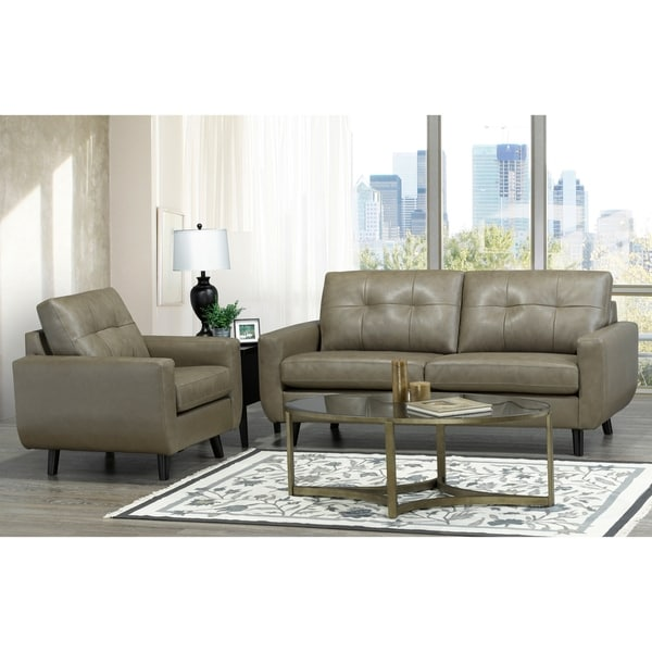 Shop Bryce White Italian Leather Sofa And Two Chairs: Shop Maisie Mid Century Modern Moss Green/Grey Top Grain