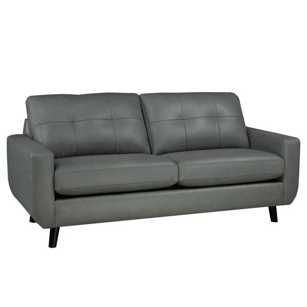 Gracie Mid Century Modern Grey Top Grain Italian Leather Tufted Sofa