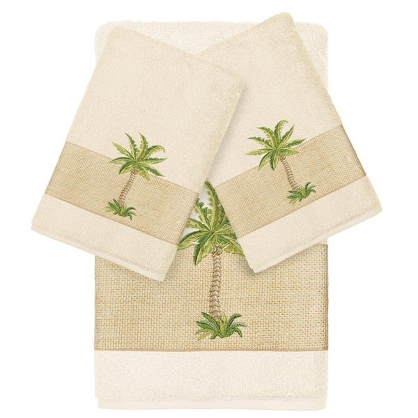 Authentic Hotel and Spa Turkish Cotton Palm Tree Embroidered Cream 3-piece Towel Set