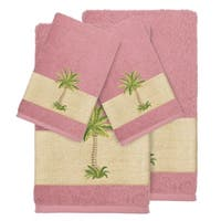 Authentic Hotel and Spa Turkish Cotton Palm Tree Embroidered Tea Rose 4-piece Towel Set