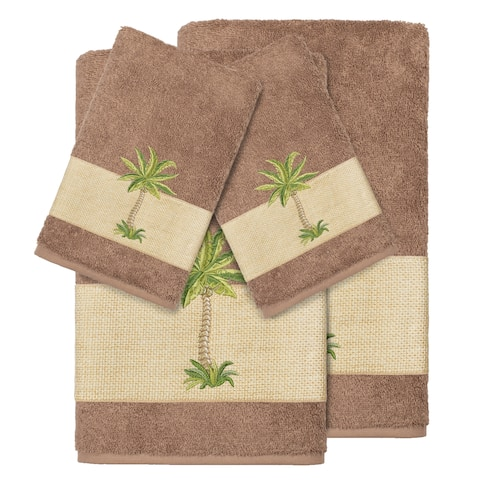 Authentic Hotel and Spa Turkish Cotton Palm Tree Embroidered Latte Brown 4-piece Towel Set