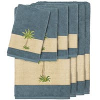 Authentic Hotel and Spa Turkish Cotton Palm Tree Embroidered Teal 8-piece Towel Set