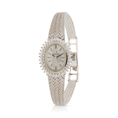 Pre-Owned Omega Dress Dress Vintage Ladies Watch in 14k White Gold