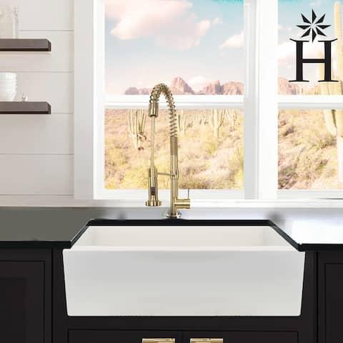 Italian Fireclay 33-inch Reversible Farmhouse Kitchen Sink