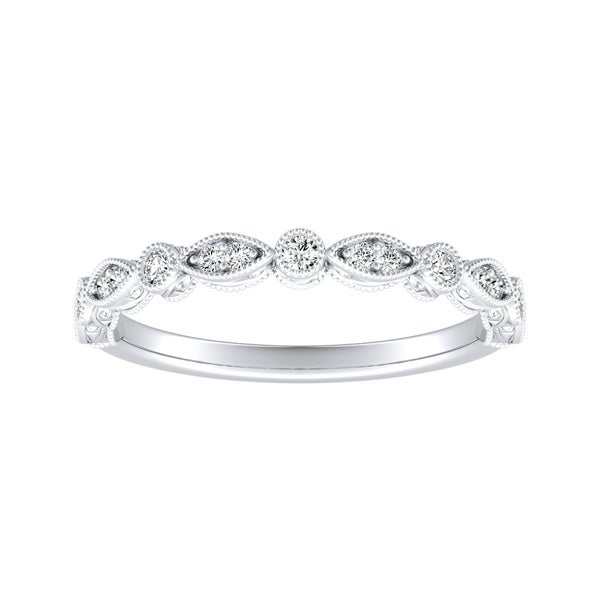 Auriya 1/8ctw Vintage Diamond Wedding Band Platinum Stackable