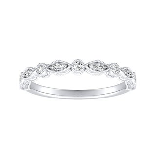 Auriya Platinum 1/8ct TDW Vintage Round Diamond Wedding Band