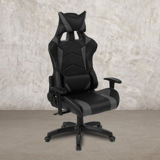 """High Back Black & Gray Reclining Racing/Gaming Office Chair with Lumbar Support - 28.5""""W x 28.5"""" - 43.25""""D x 51.25"""" - 56""""H"""