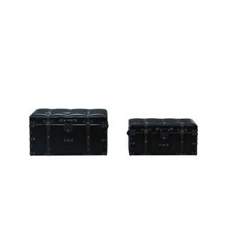 2 Piece Faux Leather Storage Chests (2 Sizes) - ESPRESSO