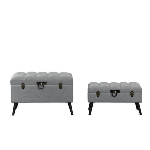 2 PC Tufted Fabric Table Storage Chests
