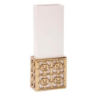 Rectangular Gold Ceramic Lattice Base w/ White Ceramic Vase Insert - Large