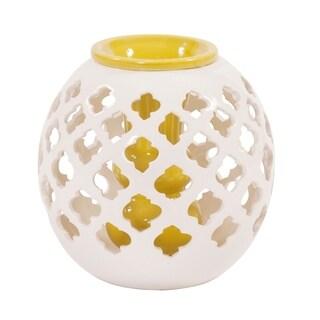 Ceramic Round White Lattice Vase