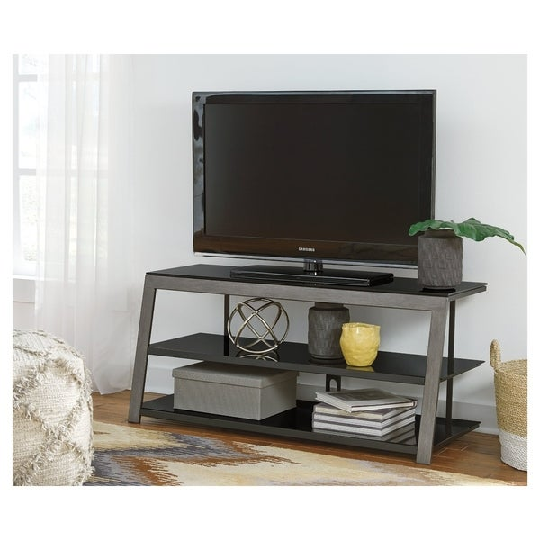 Shop Signature Design By Ashley Rollynx Black Glass Metal Tv Stand