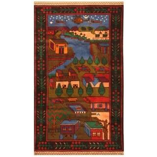 Handmade Herat Oriental Afghan Hand-knotted Tribal Semi-antique Wool War Rug (2'7 x 4'5) - 2'7 x 4'5