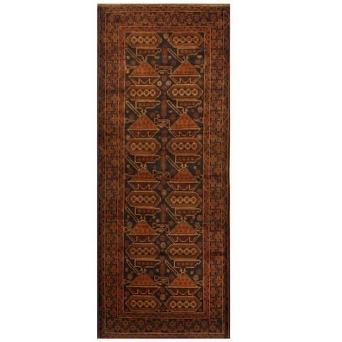 Handmade One-of-a-Kind Balouchi Wool Rug (Afghanistan) - 3'2 x 8'