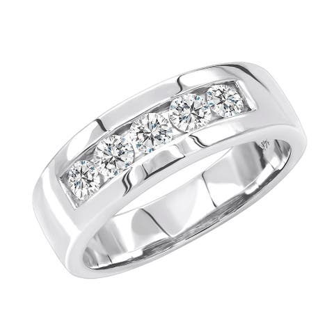 5 Year Anniversary Mens Ring 14kt Gold 5 Stone Diamond Wedding Band 1ctw by Luxurman