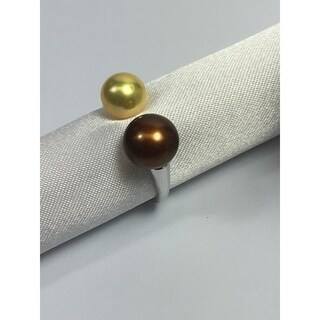 Sterling Silver and freshwater pearl Open end ring Copper by Pearl Lustre