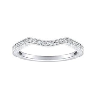 Auriya Platinum 1/8ct TDW Round Vintage Contoured Diamond Wedding Band