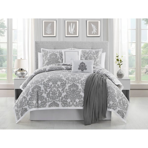 Ellen Tracy Adalisa 6-piece Comforter Bedding Set - platinum/white