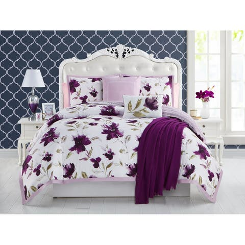 Ellen Tracy Monterey 6-piece Comforter Bedding Set - berry/white