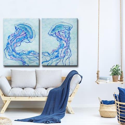 Jelly Fish I' 2-Pc Coastal Wildlife Canvas Wall Art Set