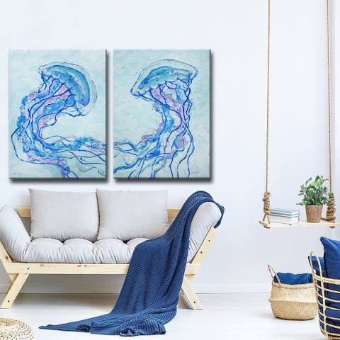 Porch & Den Jelly Fish I' 2-Pc Coastal Wildlife Canvas Wall Art Set