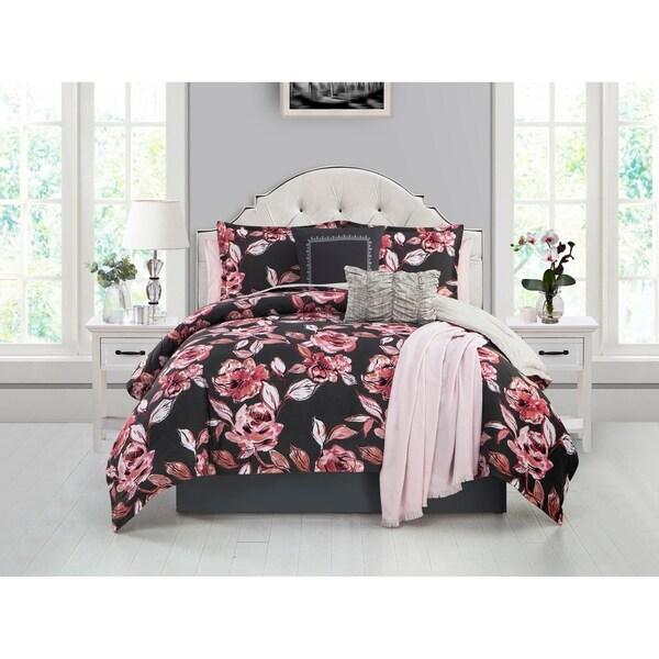 Ellen Tracy Fleur Du Jour 6-piece Comforter Bedding Set - pink/coral/charcoal