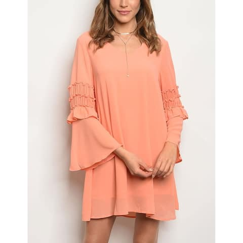 JED Women's Bell Sleeve V-Neck Chiffon Short Tunic Dress