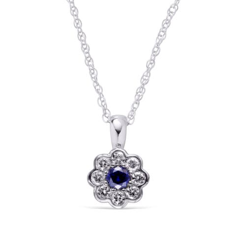 Sterling Silver Created Blue & White Sapphire Pendant