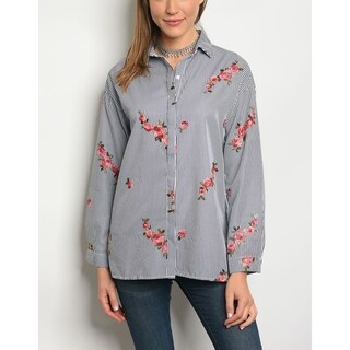 JED Women's Floral Embroidered Button Down Striped Shirt