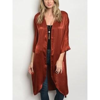 JED Women's Satin 3/4 Sleeve Longline Kimono Cardigan