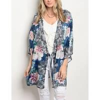 JED Women's Front Tie Floral Kimono Tunic