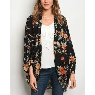 JED Women's Open Front Floral Kimono Cardigan