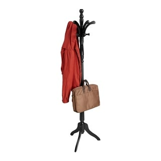 Mind Reader 13 Hook Solid Free Standing Wood Coat Rack, Entryway Coat Tree Hat Hanger Umbrella Holder, Black