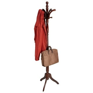 Mind Reader 13 Hook Solid Free Standing Wood Coat Rack, Entryway Coat Tree Hat Hanger Umbrella Holder, Brown