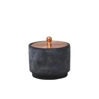 Sagebrook Home DECORATIVE CEMENT COVERED JAR, GRAY/GOLD