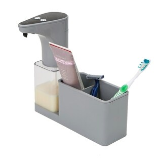 Mind Reader 16.9 oz Refillable Hands-Free Automatic Soap Dispenser with Sensor Pump Storage Compartment Caddy, Silver