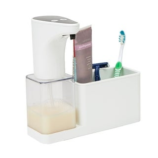 Mind Reader 16.9 oz Refillable Hands-Free Automatic Soap Dispenser Sensor Pump with Storage Compartment Caddy, White