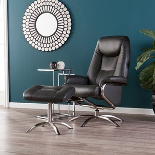 Blake Charcoal Reclining Swivel Chair and Ottoman