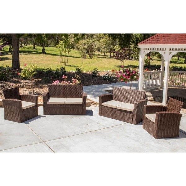 shop prima 4 piece outdoor patio set 2 club chairs 2 sofas free rh overstock com 4 Piece Sofa Set Outdoor Patio Table and 6 Chairs Set Walmart