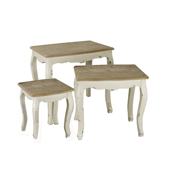 Jeco Brown White Wood 3 Piece Nesting Table Set