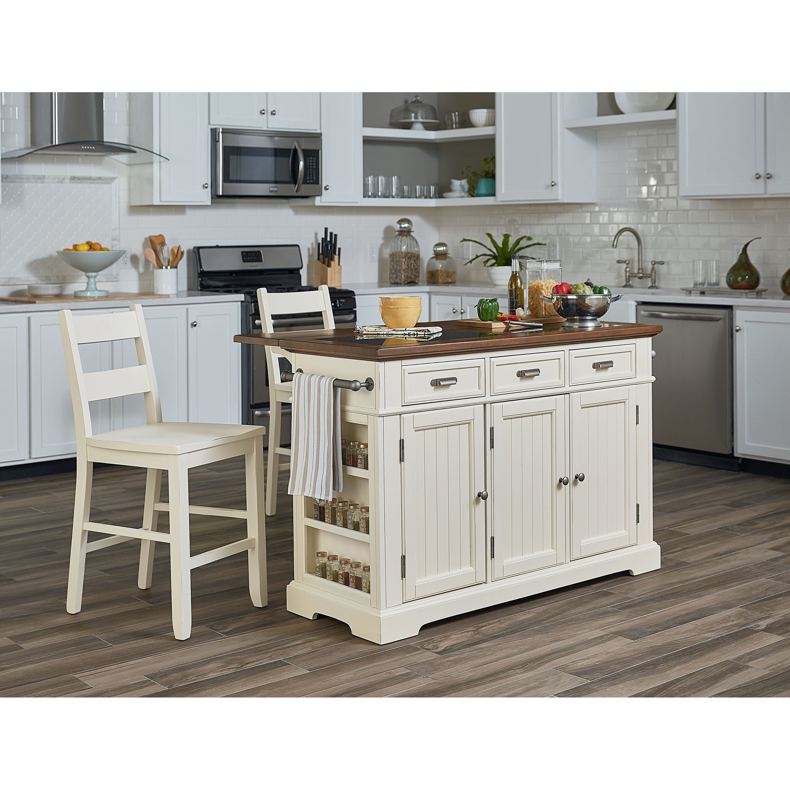 Shop Kitchen Island With Granite Inlay Top And Two Matching Stools